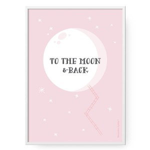 Plakat To the Moon Pink, format B2 (50 cm x 70 cm)