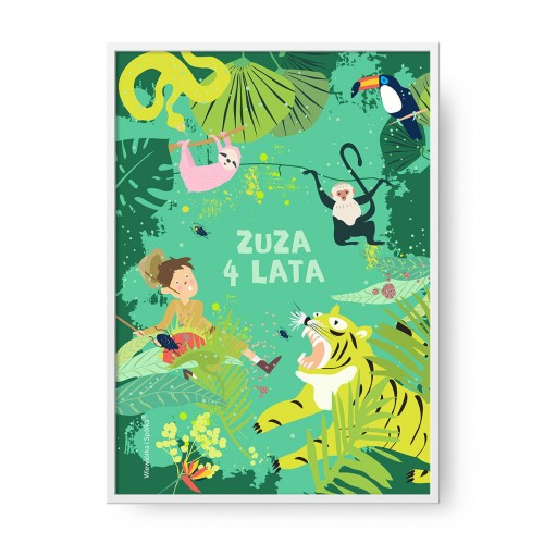 grafika-plakat-do-pokoju-prezent-na-urodziny-dzungla-tygrys-malpa-tukan-leniwiec-waz-Wiewiorka-i-Spolka-jungle-tiger-monkey-toucan-sloth-snake-personalised-birthday-poster-Squirrel-Company