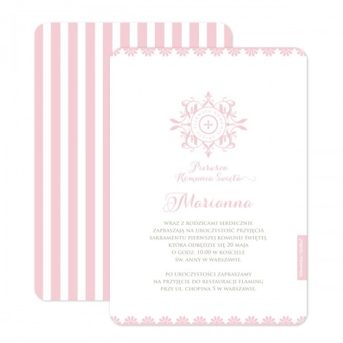 zaproszenia-na-chrzest-chrzciny-pierwsza-komunie-swieta-dziewczynki-ornament-Wiewiorka-i-Spolka-personalised-baptism-holy-communion-invitations-pink-ornament-Squirrel-Company